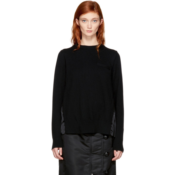 Sacai Black Classic Pleated Sweater