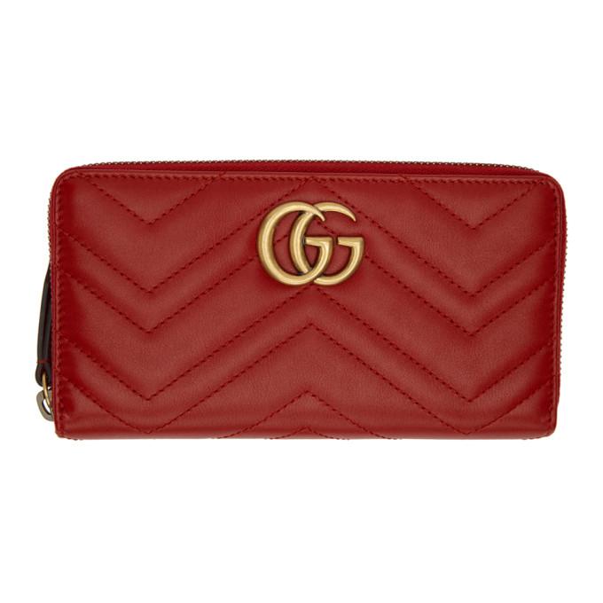 Gucci Red GG Marmont Zip Around Wallet