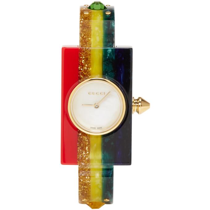 Gucci Multicolor Rainbow Plexiglass Watch