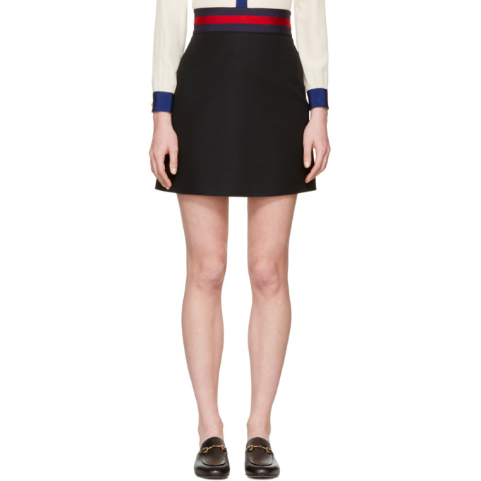 Gucci ブラック ウェブ リボン ミニスカート