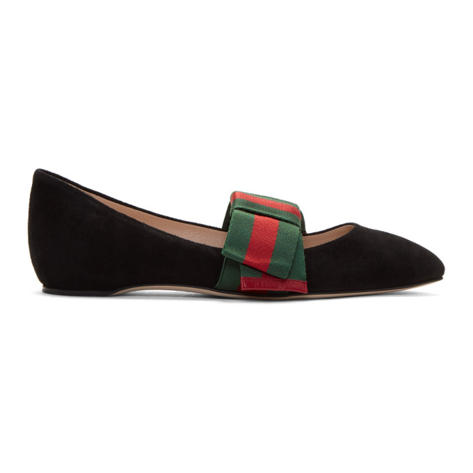 Gucci Black Bow Suede Ballerina Flats