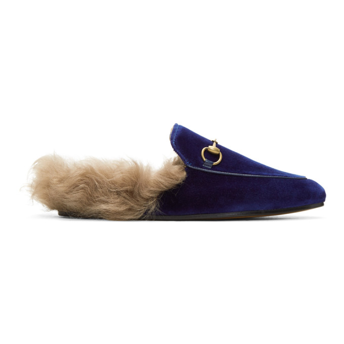 Gucci Blue Velvet & Fur Princetown Slippers