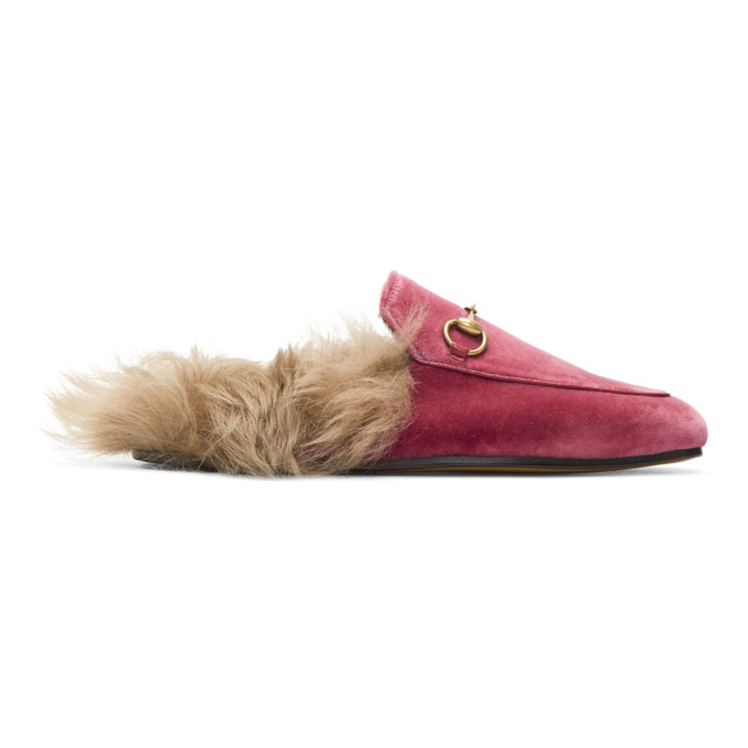 Gucci Pink Velvet & Fur Princetown Slippers