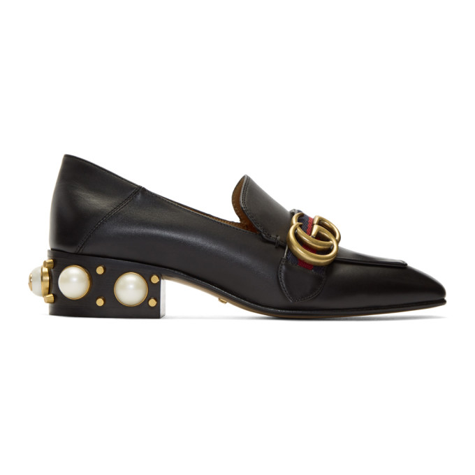 Gucci Black Leather Pearl Loafers