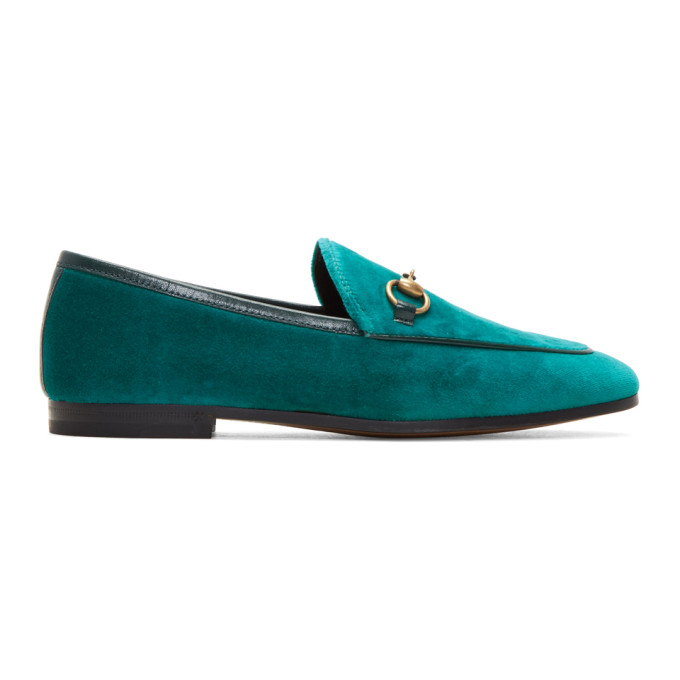 Gucci Blue Velvet Jordaan Loafers
