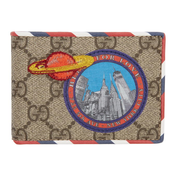 Image of Gucci Beige 'Blind for Love' GG Supreme Courrier Wallet