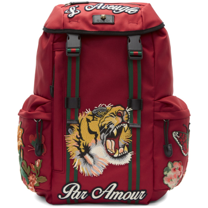 Gucci Red 'L'Aveugle Par Amour' Techpack Backpack