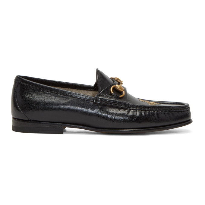 Gucci Black Bee Horsebit Loafers