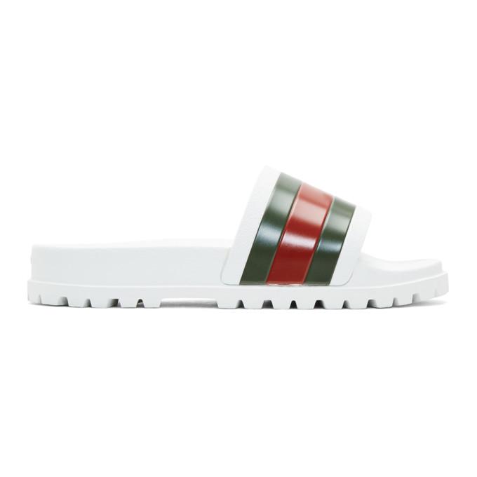 Gucci ホワイト ストライプ パースート トレック スライド