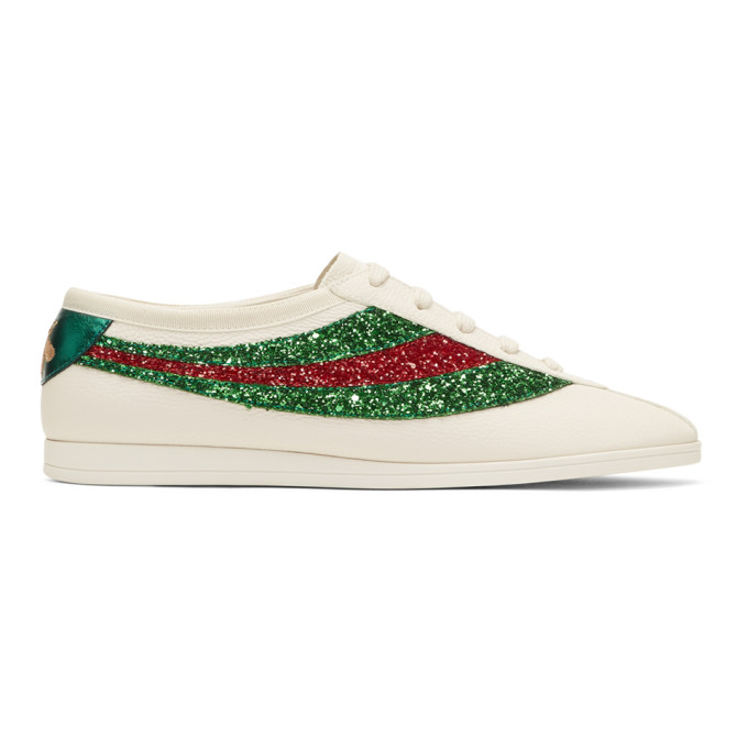 Gucci Off White Glitter Falacer Sneakers