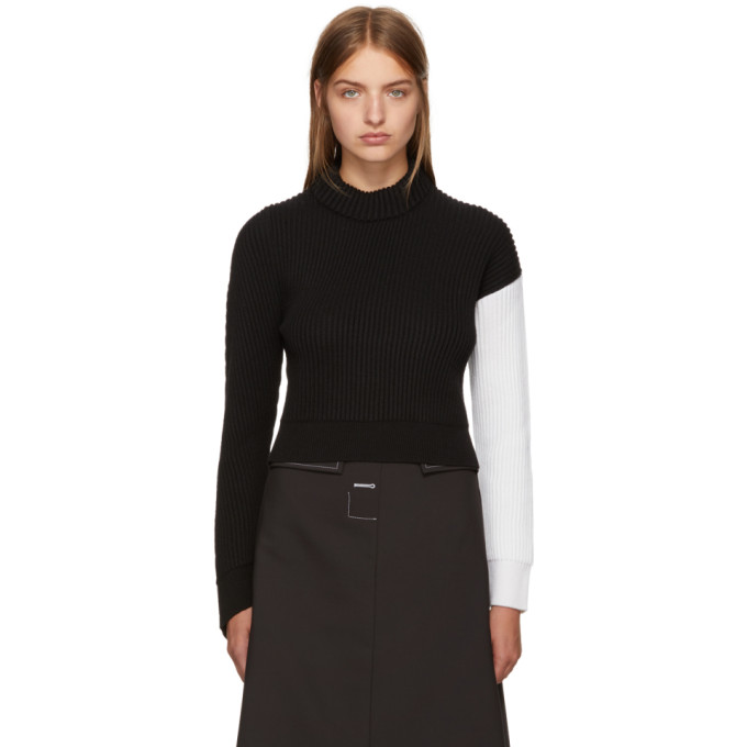 Image of Cédric Charlier Black & White Asymmetric Colorblock Sweater