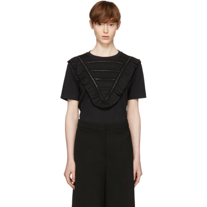 Stella McCartney Black Lace & Ruffle T-Shirt
