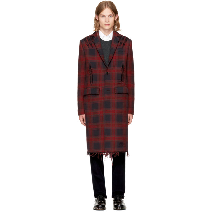 Image of Valentino Red Check Love Blade Coat