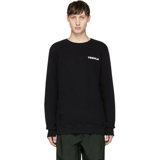 TIM COPPENS Tim Coppens Black Printer Ma-1 Crewneck Sweatshirt in Black Multi