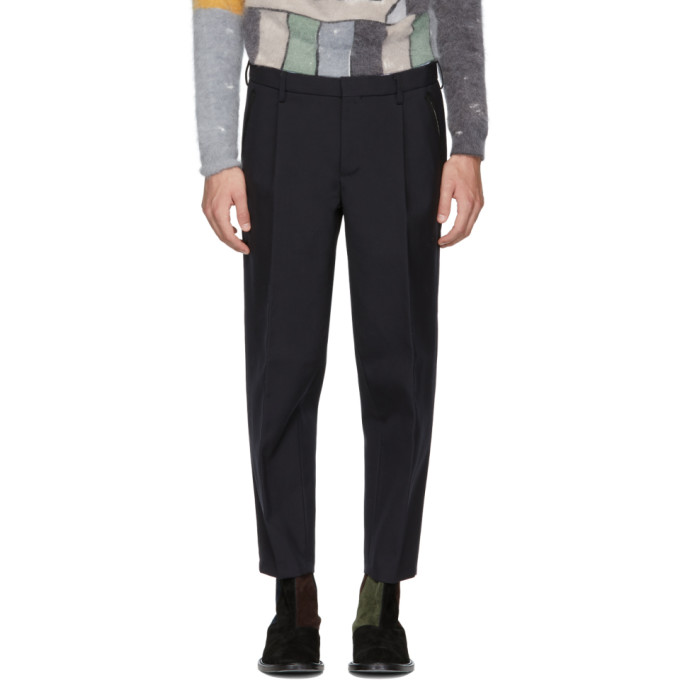 Image of Kolor Navy Wool Pleated Trousers