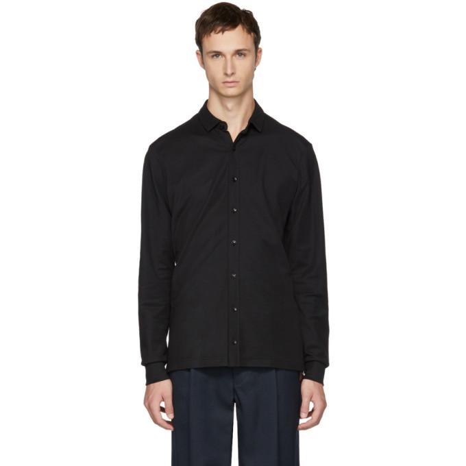 Image of Kolor Black Jersey Button-Up Shirt