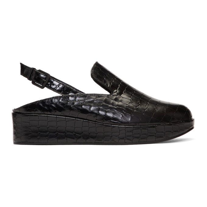 Image of Clergerie Black Croc Nalice Platform Slippers