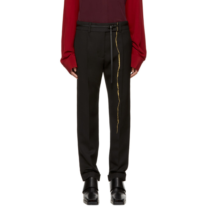 Image of Haider Ackermann Black Embroidered Classic Trousers
