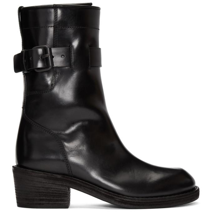 Haider Ackermann Black Dean Engineer Buckle Boots