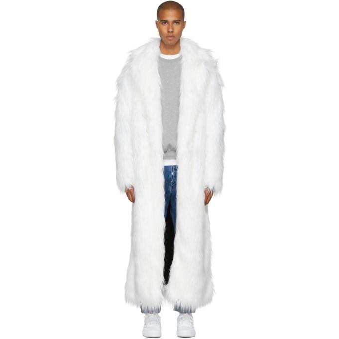 Image of Pyer Moss White Long Faux-Fur Coat