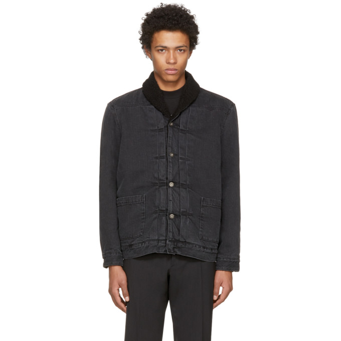 Levis Made & Crafted Black Denim Shawl Collar Trucker Jacket