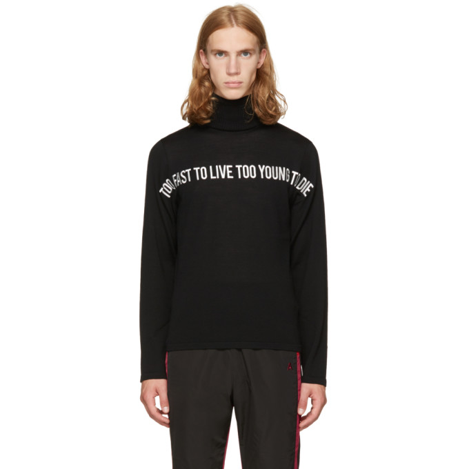 Image of Christian Dada Black 'TFTLTYTD' Turtleneck