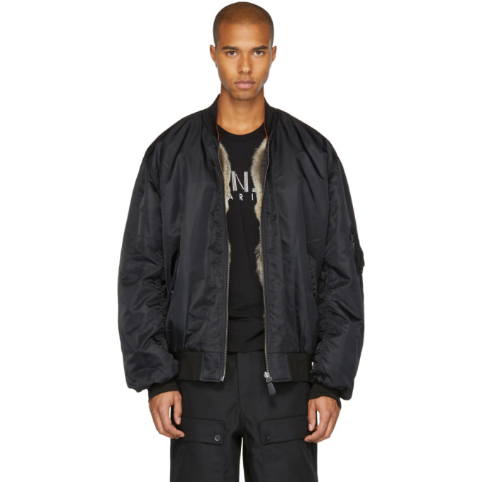 Image of Yves Salomon Black Fur-Lined Bomber Jacket