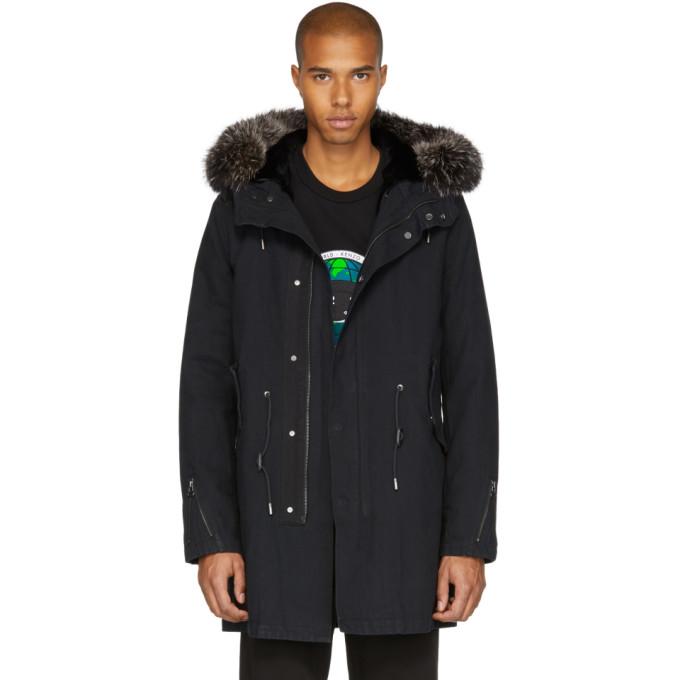 Image of Yves Salomon Black Fur-Lined Parka