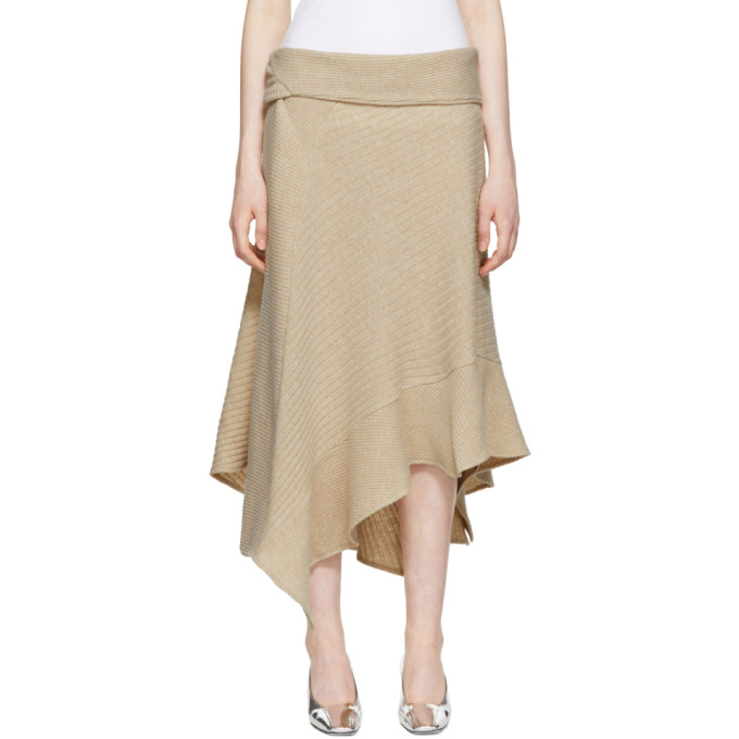 Image of Paco Rabanne Beige Asymmetric Wool Skirt