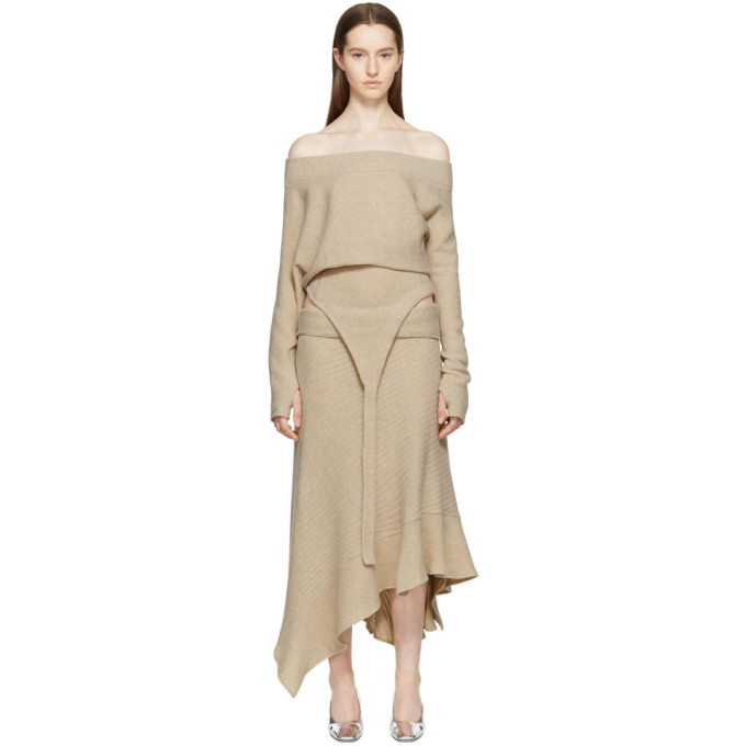 Image of Paco Rabanne Beige Asymmetric Boatneck Pullover