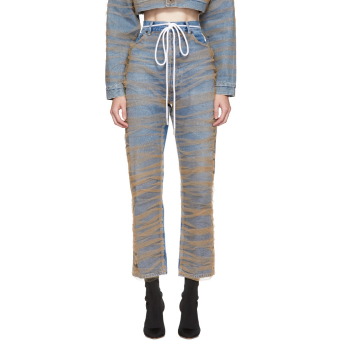 Off White Blue Tulle Jeans
