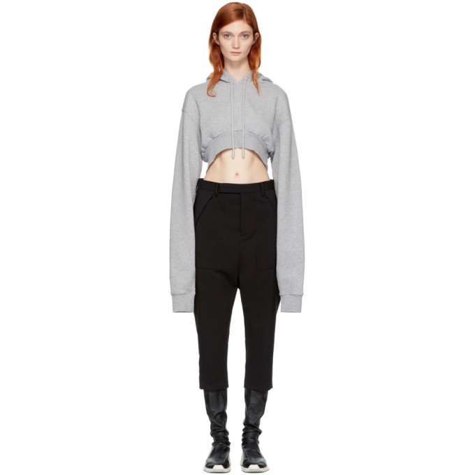 Off-White Grey Simple Crop Hoodie