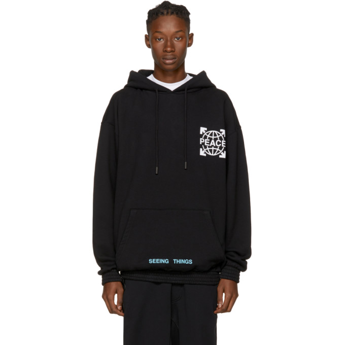 OFF-WHITE SSENSE EXCLUSIVE BLACK OVERIZED GLOBE HOODIE