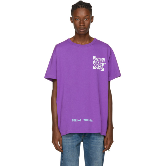 OFF-WHITE PURPLE PEACE GLOBE T-SHIRT