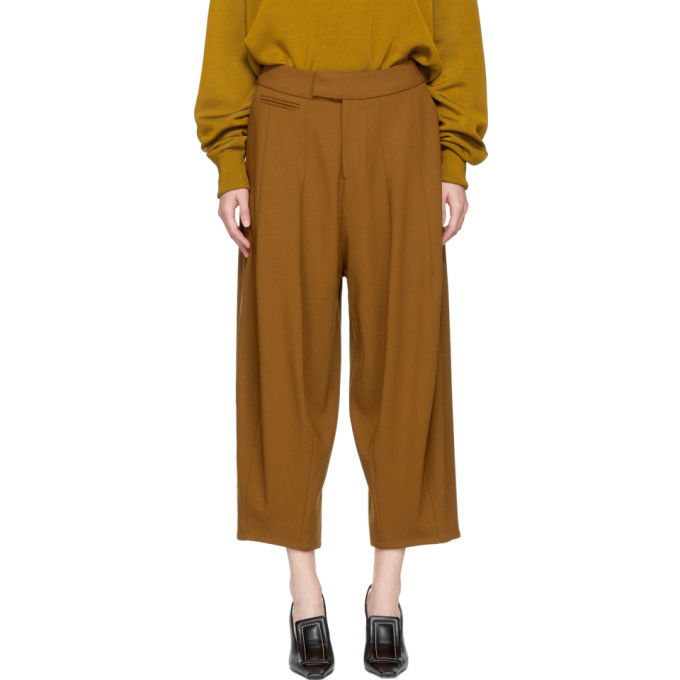Image of Studio Nicholson Brown Wool Balloon Trousers