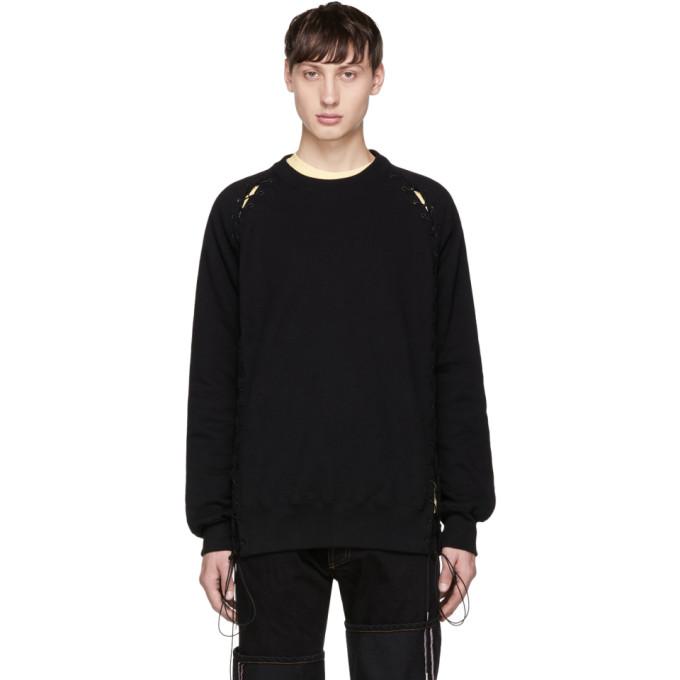 Image of Johnlawrencesullivan Black Lace-Up Crewneck Sweatshirt