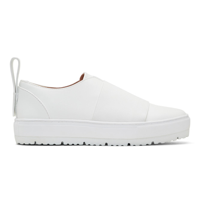 Image of Jil Sander Navy White Elastic Platform Slip-On Sneakers