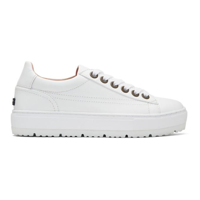 Image of Jil Sander Navy White Leather Platform Sneakers