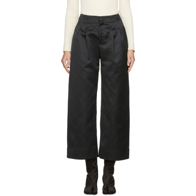 Nomia Black Satin Wide-Leg Trousers