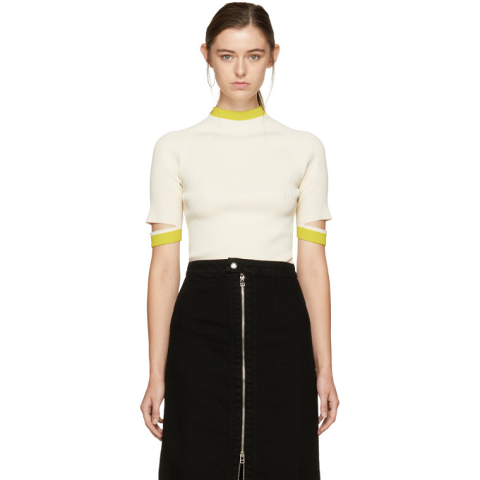 Image of Nomia SSENSE Exclusive Ivory Slit Sleeve Pullover