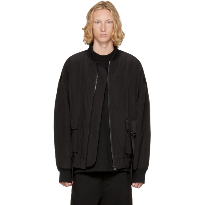 Image of D by D Black Oversized Out Strap Bomber Jacket