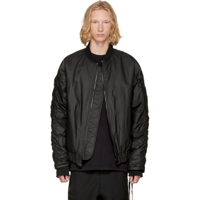 Image of D by D Black Oversized Logo Bomber Jacket