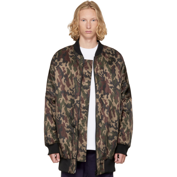 Image of D by D Khaki Oversized Ray Bomber Jacket