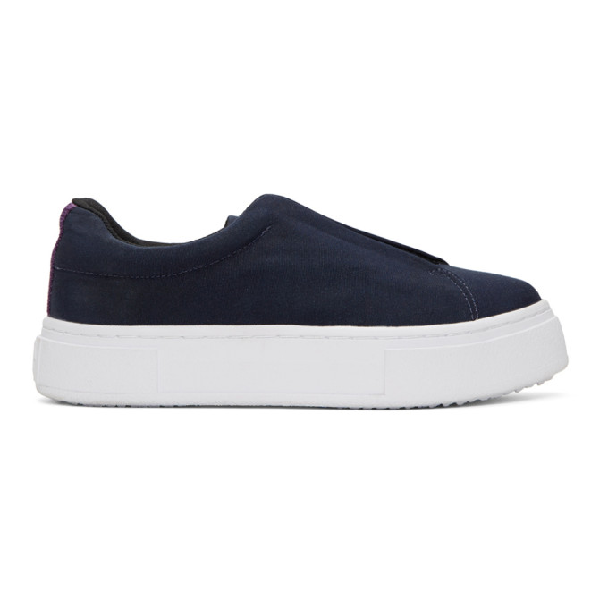 Image of Eytys Navy Canvas Doja Slip-On Sneakers