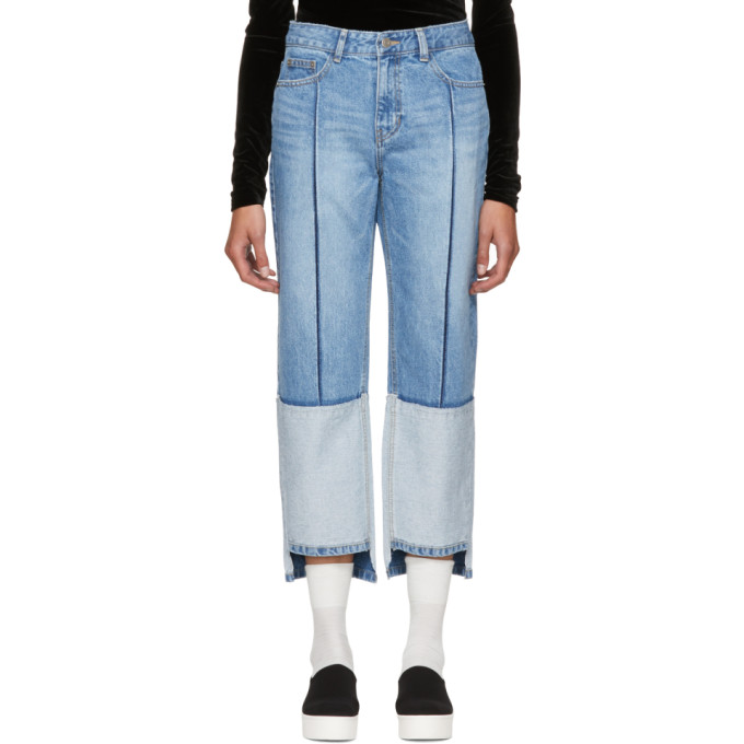 SJYP Blue Tone-on-Tone Tomboy Jeans