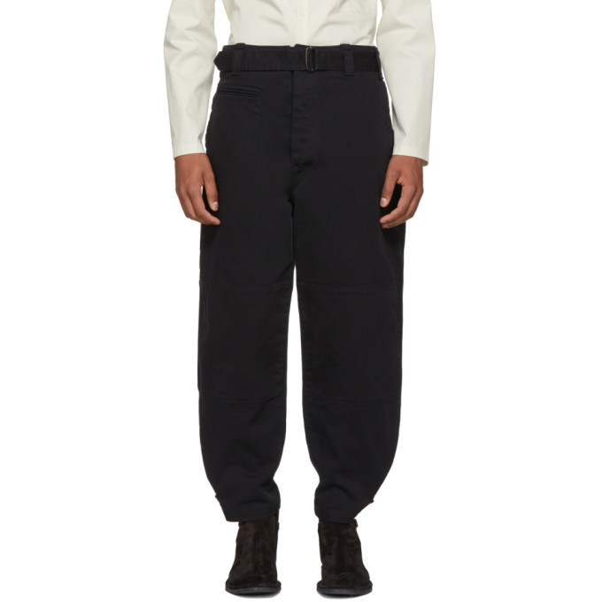 Image of Lemaire Black Denim Trench Trousers