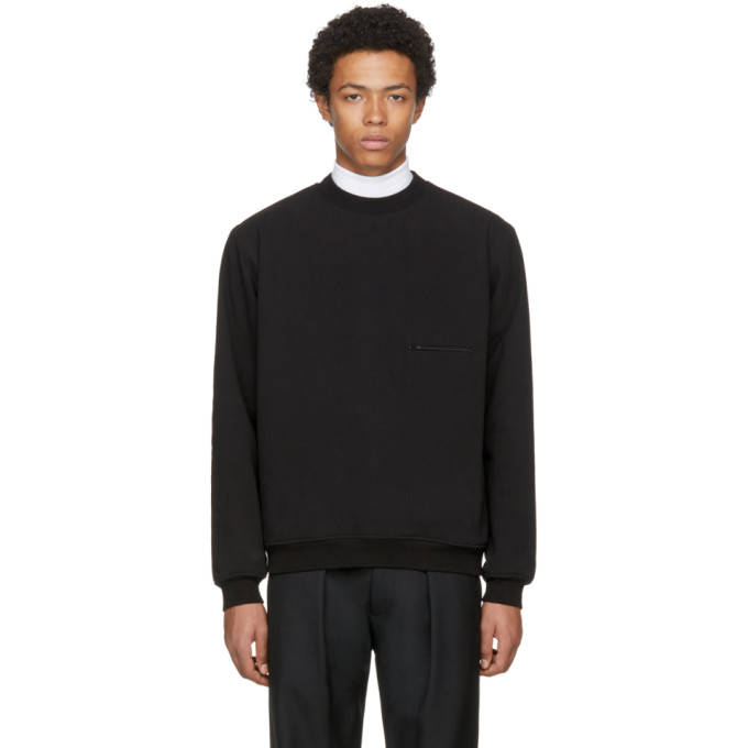 Image of Lemaire Black Ribbed Sweatshirt