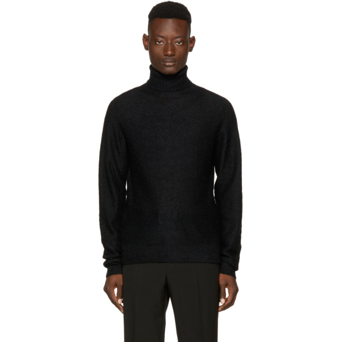 Image of Lemaire Black Mohair Turtleneck