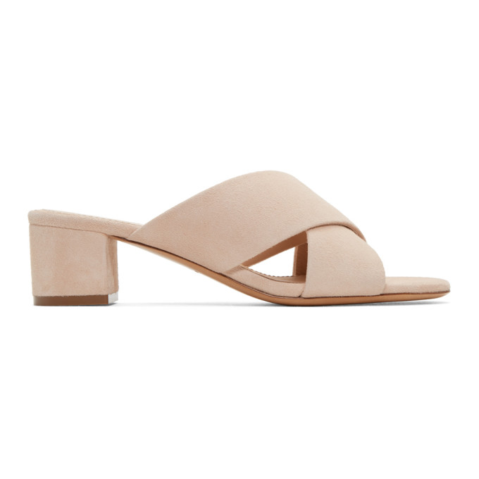 Image of Mansur Gavriel Beige Suede Crossover Sandals