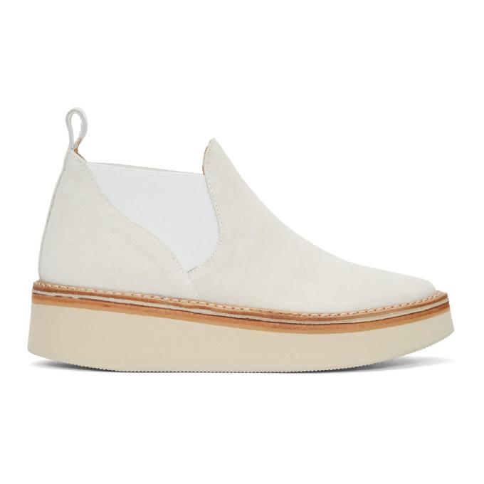 Image of Flamingos Off-White Suede Alambra Platform Boots